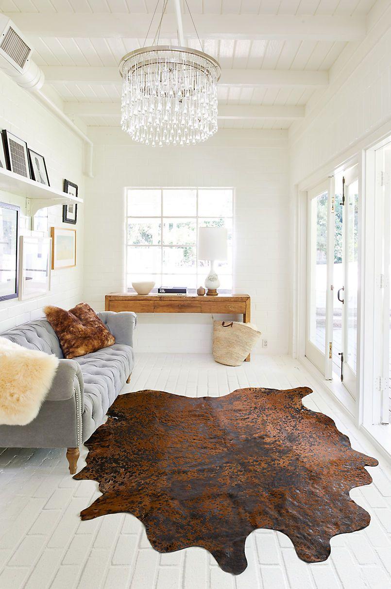 Speckled Argentine Cowhide Area Rug Bedroom Rug Placement Rug Placement Living Room Carpet
