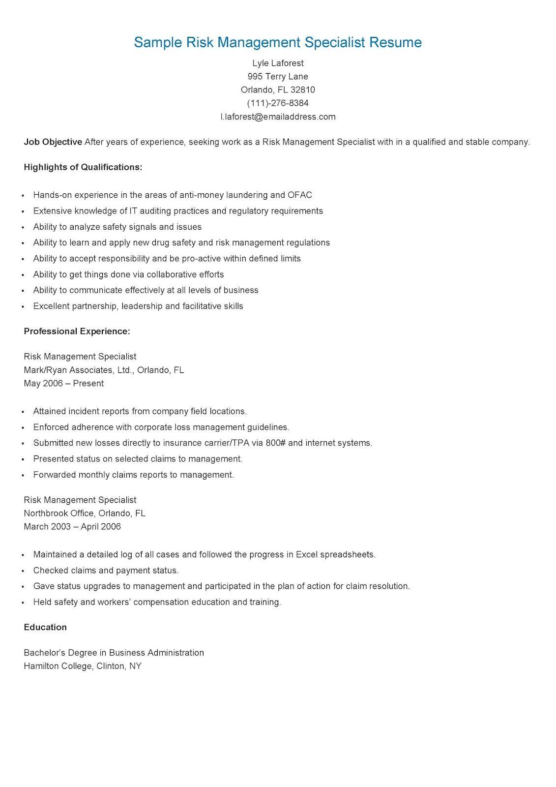Sample Risk Management Specialist Resume Risk Management