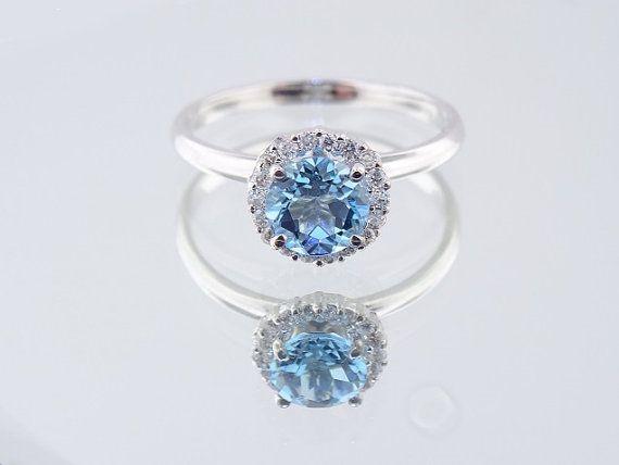 14K Weissgold Diamant und Blue Topas Halo Verlobungsring - SJ700HBT