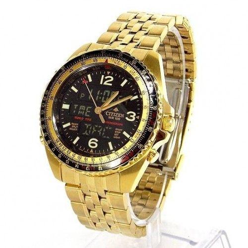 fdc7c64323a JQ8003-51E Relógio Citizen Wingman Dourado Cronógrafo