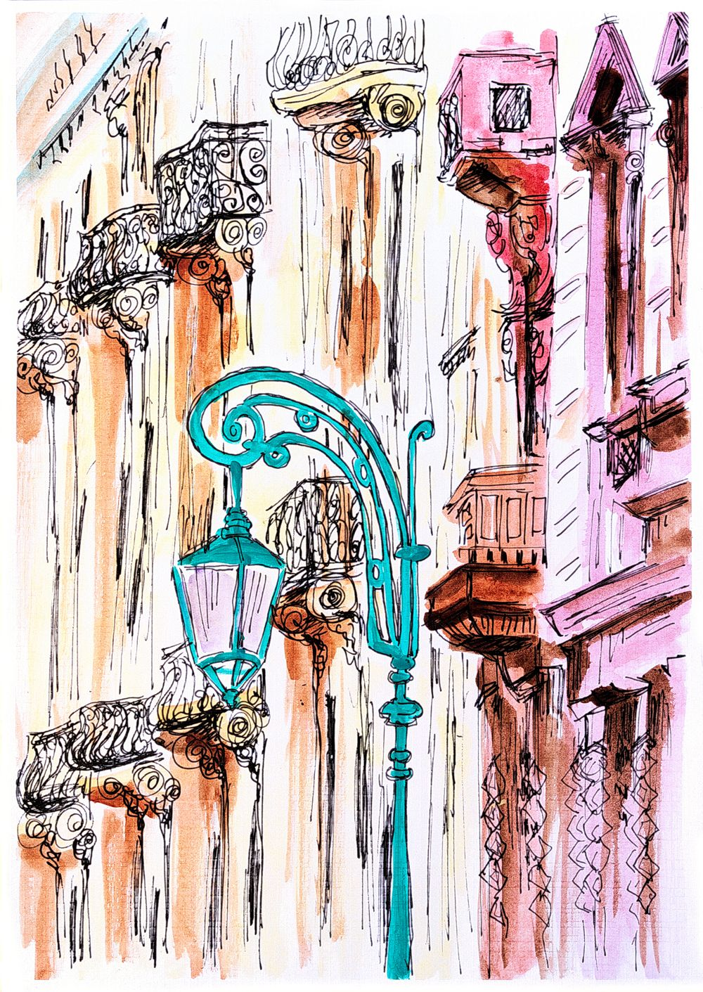 Ink Pen Acrylic Painting Street Modern Painting Home Decor