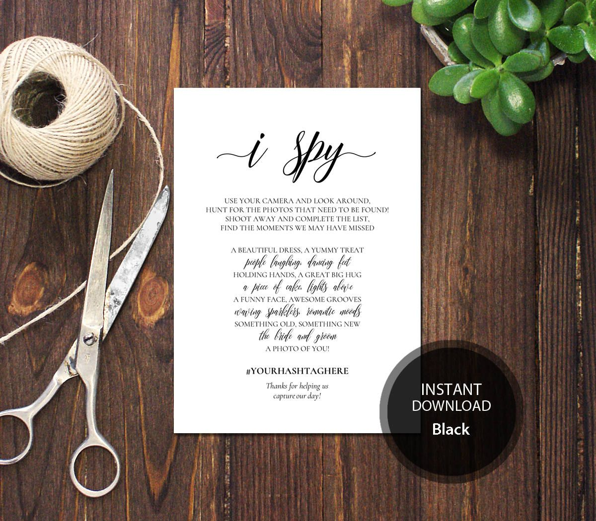 PDF Template 5x7 I Spy Wedding Game INSTANT DOWNLOAD Diy Wedding