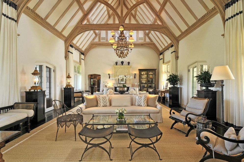 54 Living Rooms with Soaring 2Story Cathedral Ceilings Dark