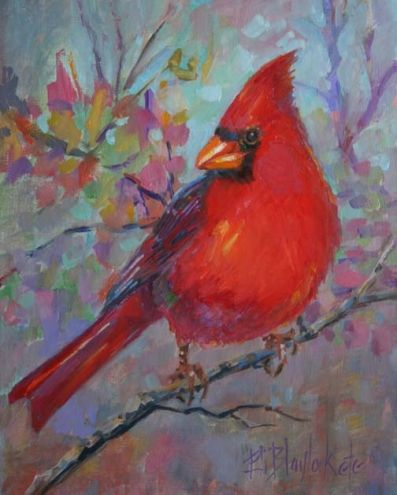 RED BIRD RIDING HIGH, painting by artist Elizabeth Blaylock