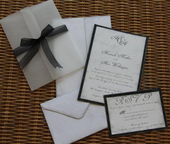 Handmade Wedding Invitation,Rustic, Invite, RSVP, Envelopes, Ribbon, Vellum  Wrap, SAMPLE SET