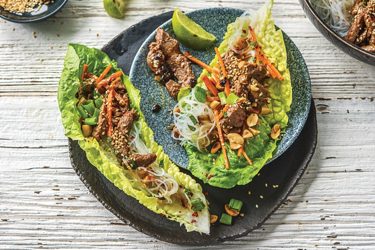 Korean Style Beef Amp Vermicelli Noodle Lettuce Cups With