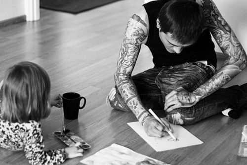 A Father with ink
