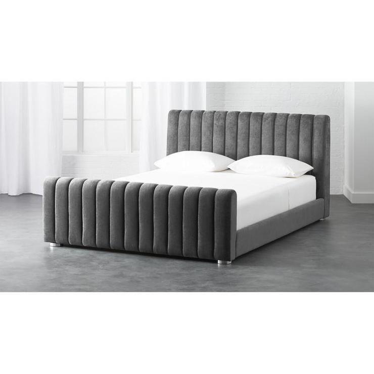 Gray Channel Tufted Velvet Bed Velvet Bed Bed Frame And