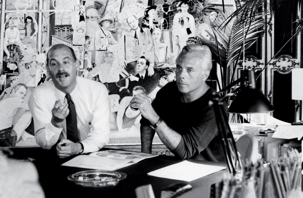 Armani and his partner and co-founder Sergio Galeotti in 1978.
