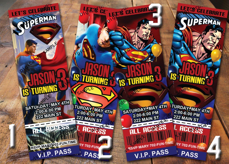 Superman Birthday Invitation Ticket. $9.99, via Etsy. | 3 years old ...