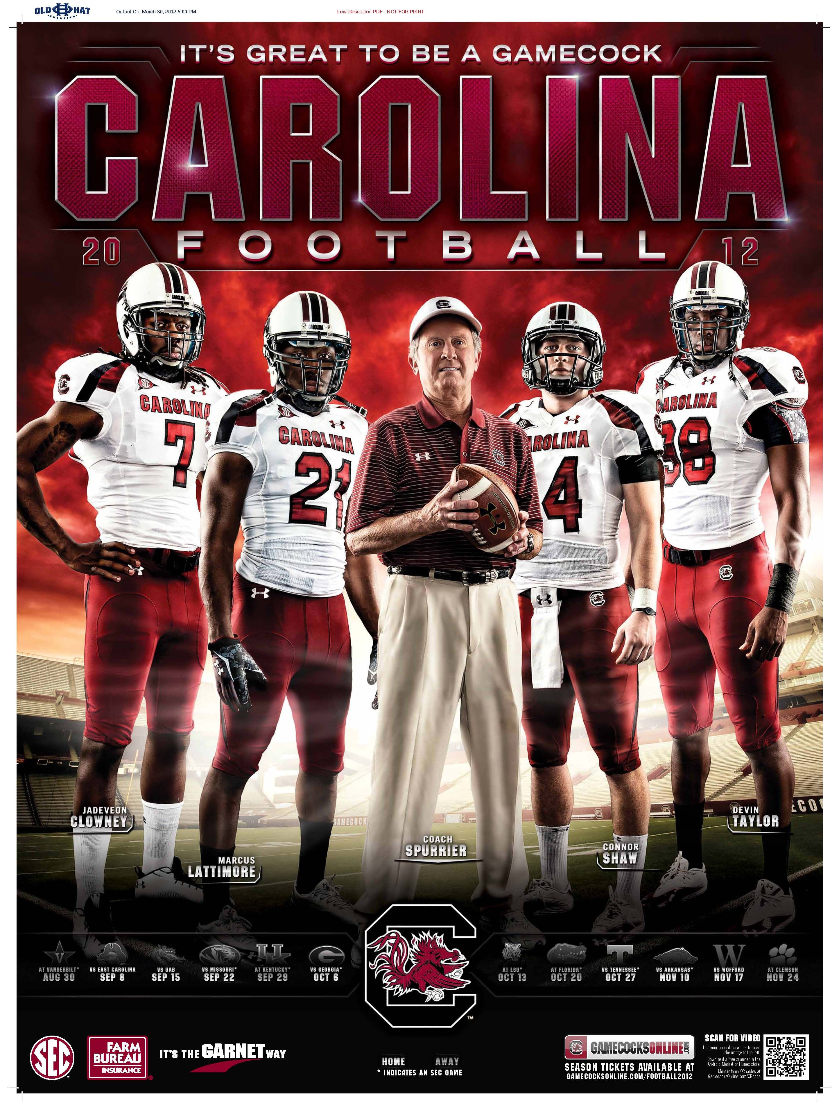 2012 south carolina gamecocks football schedule poster | south