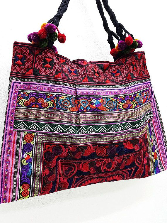 Hill Tribe Bag Braided Pom Pom Hmong Thai Cotton Bag Embroidered Ethnic  Purse Woven Bag Hippie Bag H 4666e06cf3e1d