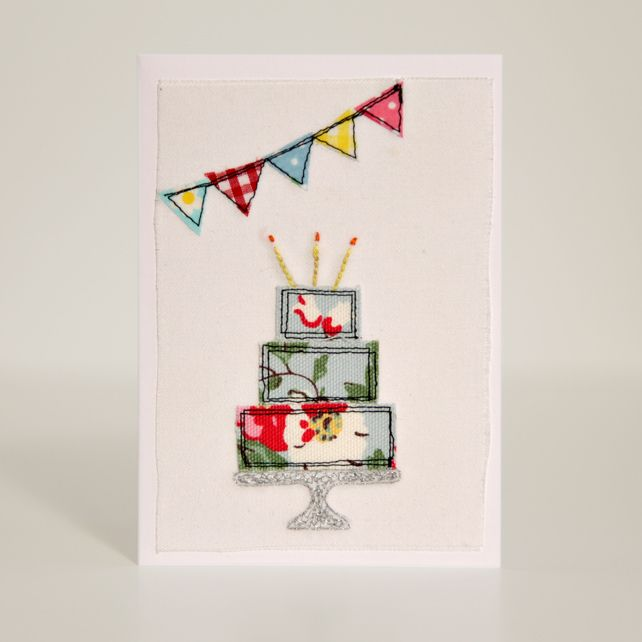 Pin By Storytelling On Happy Fabric: Handmade Fabric Birthday Cake Card