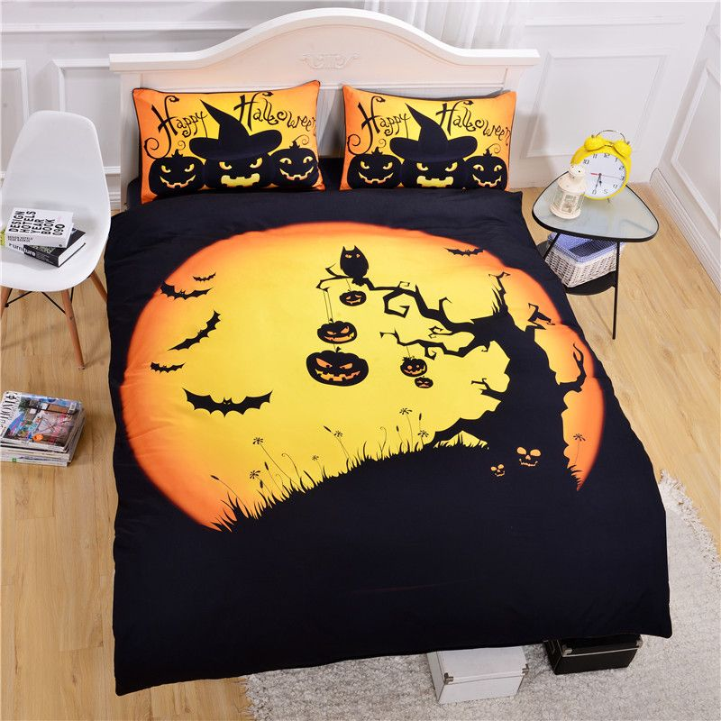 Hot Seller Halloween Bedding Funny Gift 3D Print Bedlclothes Soft Duvet  Cover Set Twin Queen King