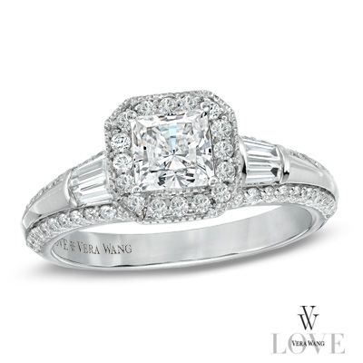 Vera Wang LOVE Collection 1 CT. T.W. Princess-Cut Diamond Edge Engagement Ring in 14K White Gold - Zales