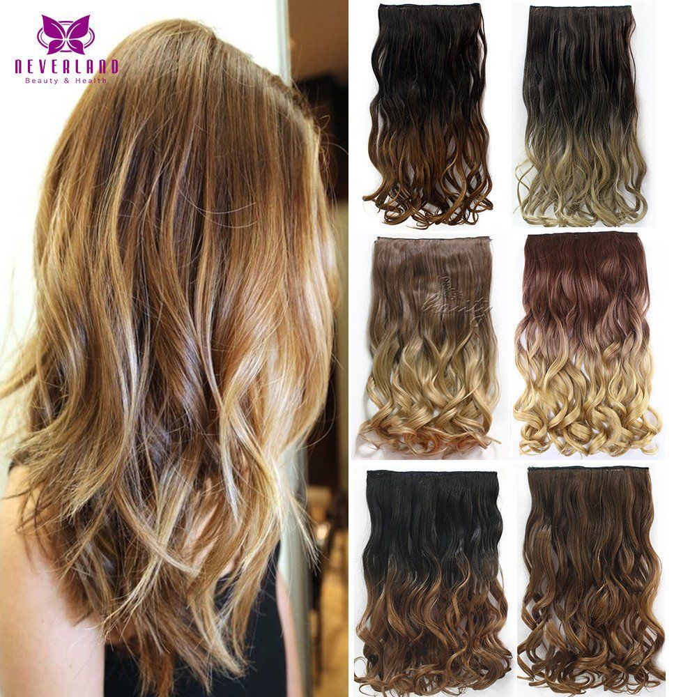 12Style 24inch One Piece Curly Hair Clips In Ombre Tone Dip Dye Synthetic Extensions Heat