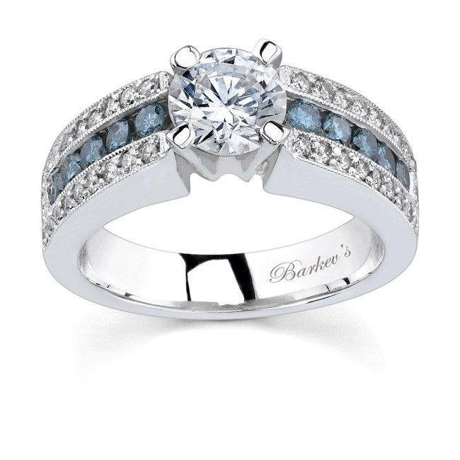 White gold engagement ring with white blue diamonds 6638LW