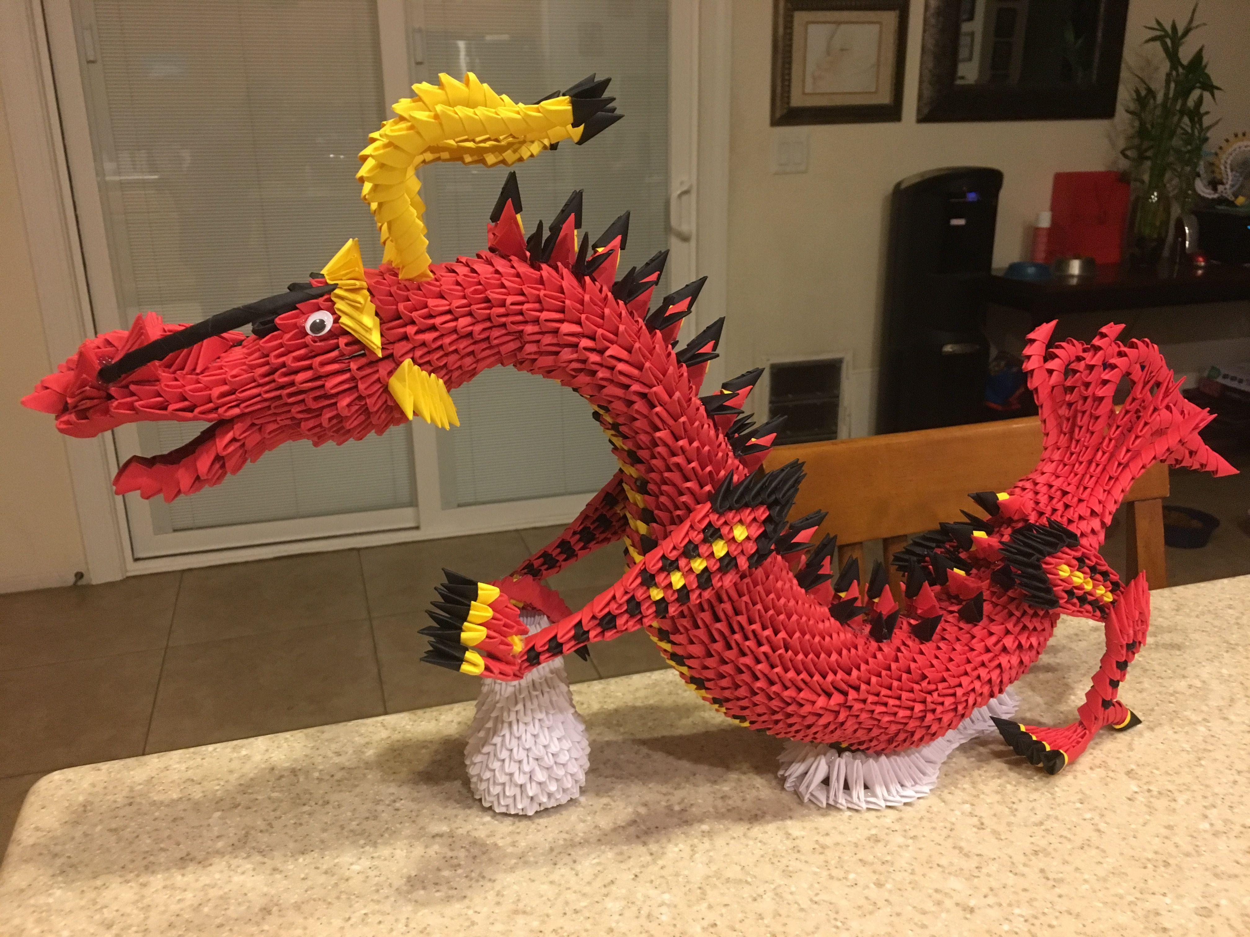 2019Red Dragon Dinosaur stuffed animal, 3d origami, Dinosaur