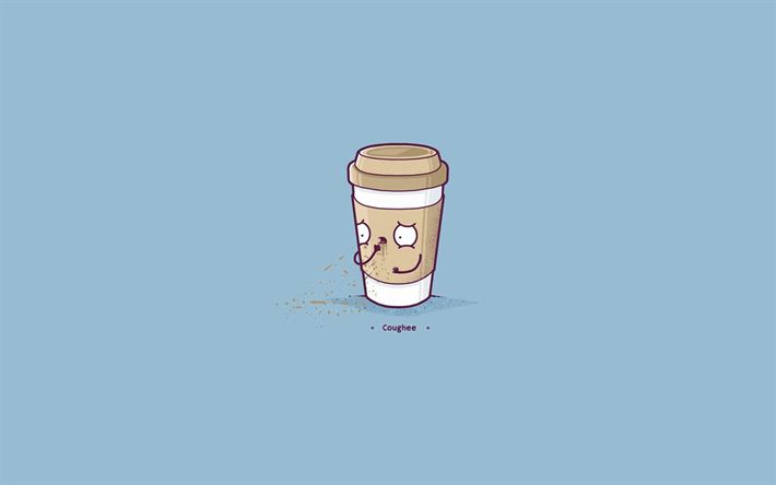 Download wallpapers coffee cup, minimal, blue background