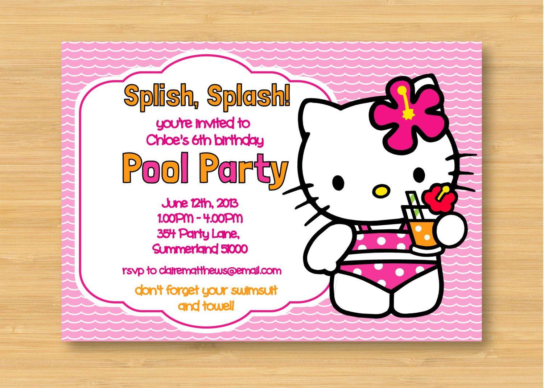 Hello kitty printable pool party birthday invitation sugarbean hello kitty printable pool party birthday invitation bookmarktalkfo Gallery