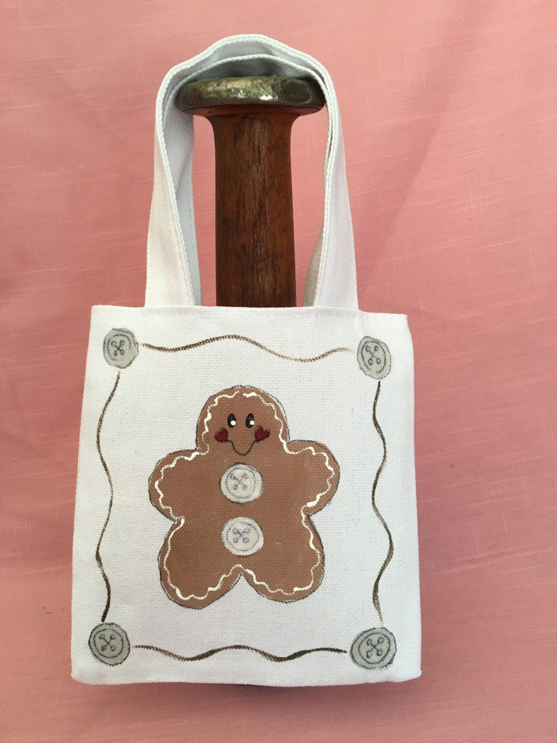 Canvas tote small white hand painted Gingerbread by ThePaintedVine