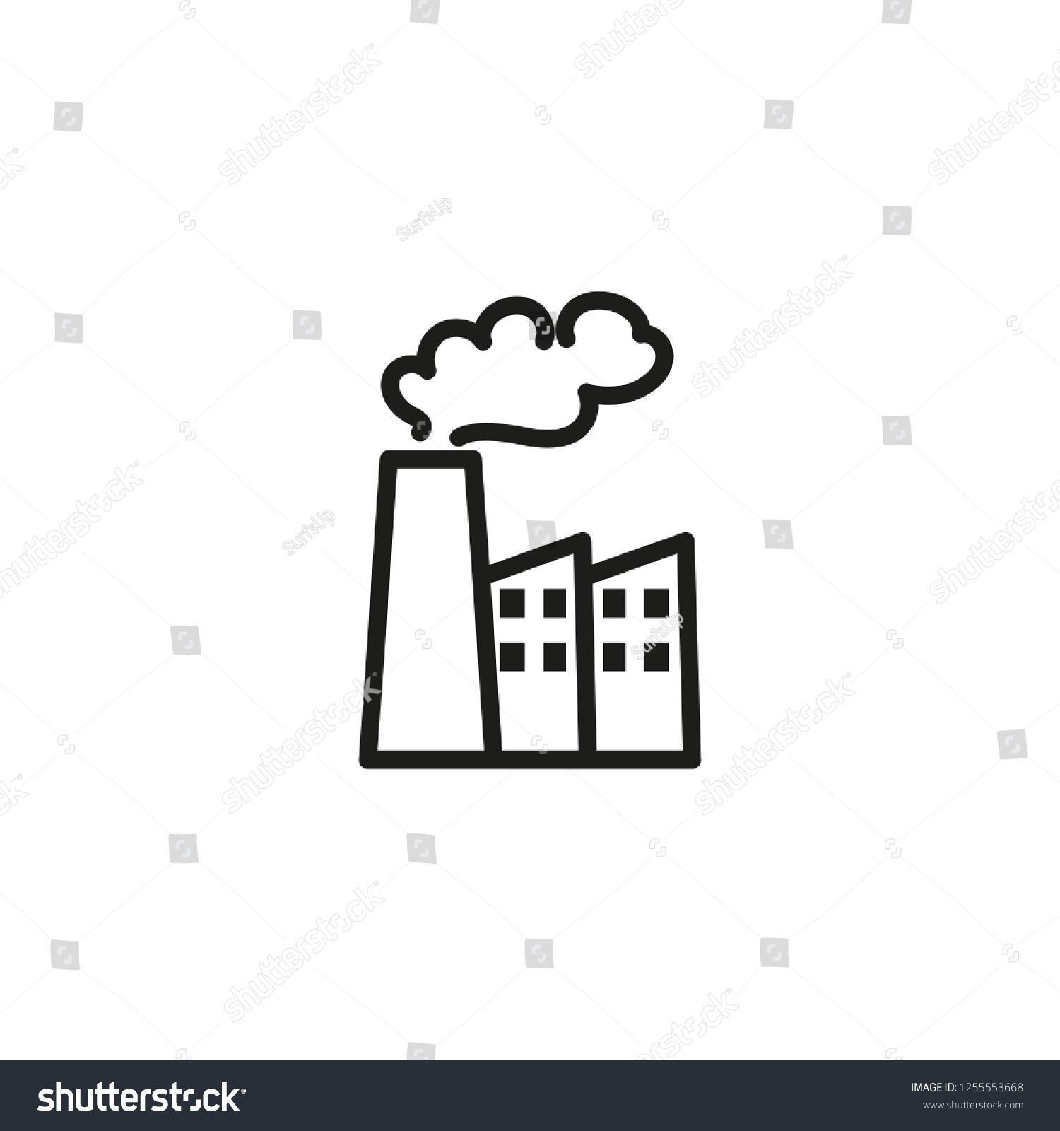 Industrial Pollution Line Icon Factory Chimney Smoke Air
