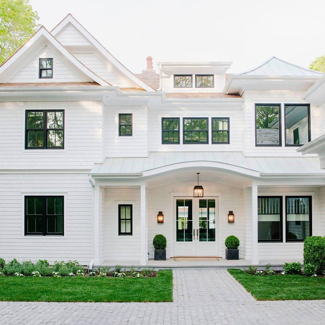 Df5411 esquemas de color casa exteriores con persianas negras - Casas Bonitas
