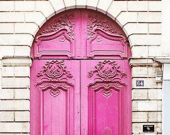 Neon Pink Door Paris France - 8x10 Home Decor Art Photography Print Magenta & Paris Poster Print - 20x30 Pink Door White Large Wall Photo Door ...