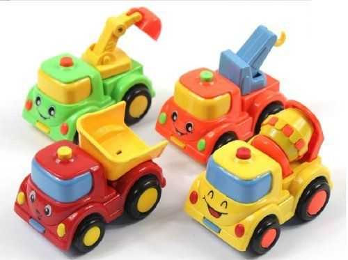 itemship 4 pcs childrens toys construction vehicles car car toy pull back