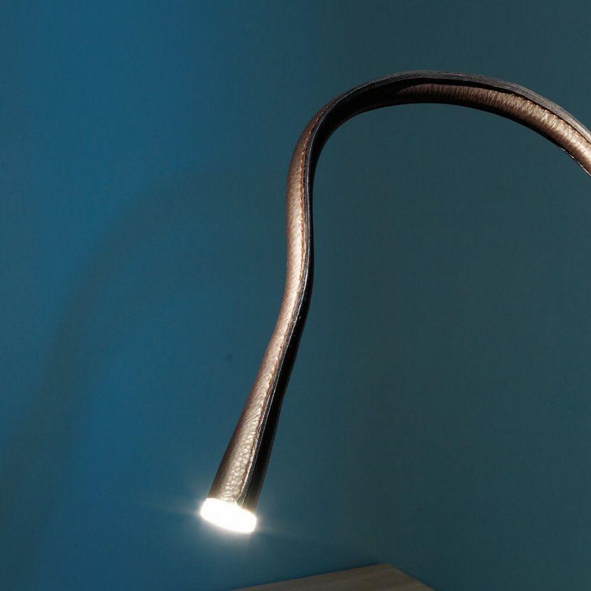 Applique liseuse flexible Cuir chocolat Bronze avec interrupteur