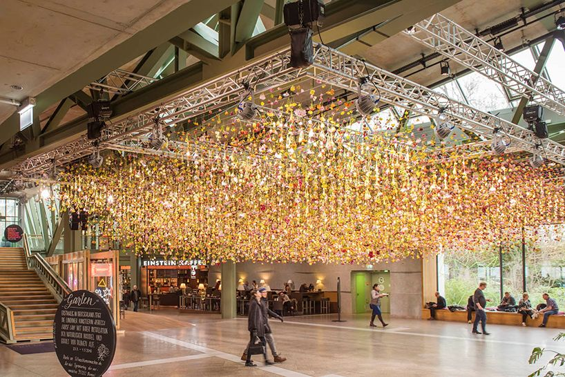 rebecca louise law suspends a spring garden within bikini berlin retail space
