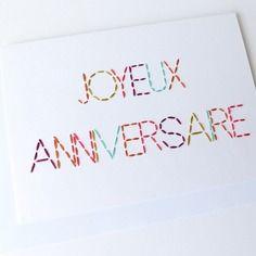 Carte brode main joyeux anniversaire multicoloreaccessoire
