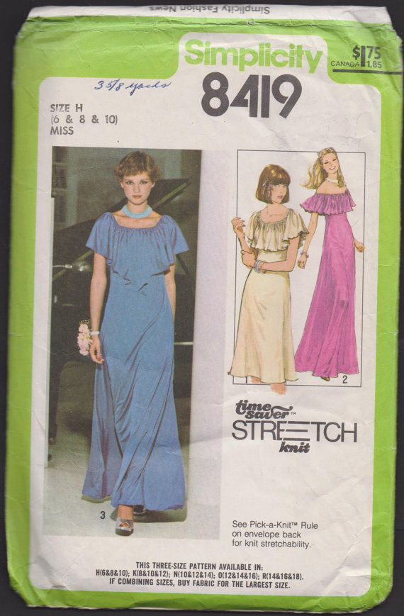 Simplicity 8419 Misses Pullover Dress A Time Saver Stretch Knit