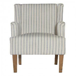 Best Blue Cream Pinstripe Armchair With Studs Furniture 400 x 300