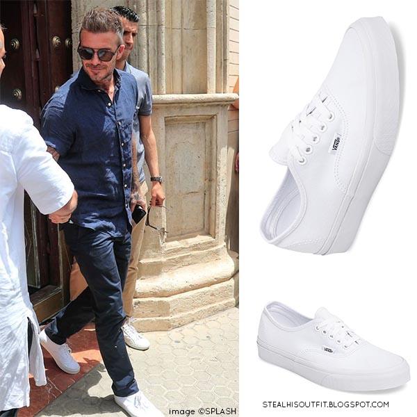 David Beckham wears denim shirt and white Vans sneakers