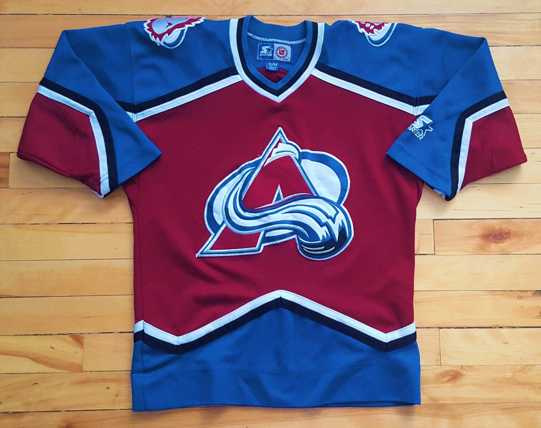 buy popular 5bbc4 16752 Vintage Colorado Avalanche YOUTH Small Starter Jersey NHL ...