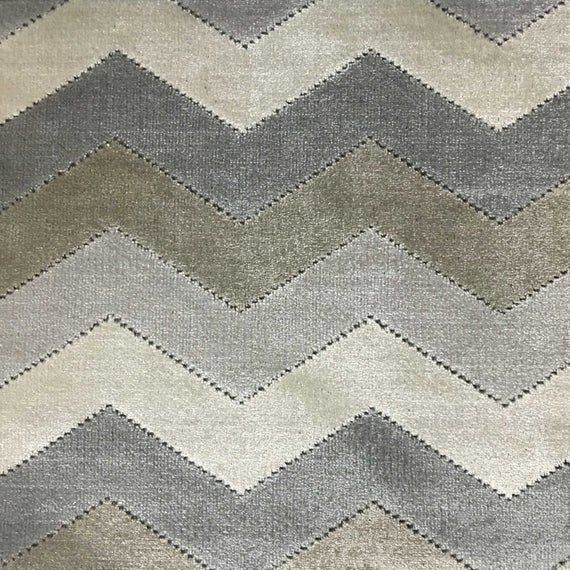 Upholstery Fabric - Longwood - Driftwood - Bold Chevron Pattern Cut Velvet Upholstery & Drapery Fabric by the Yard - Available in 10 Colors #velvetupholsteryfabric