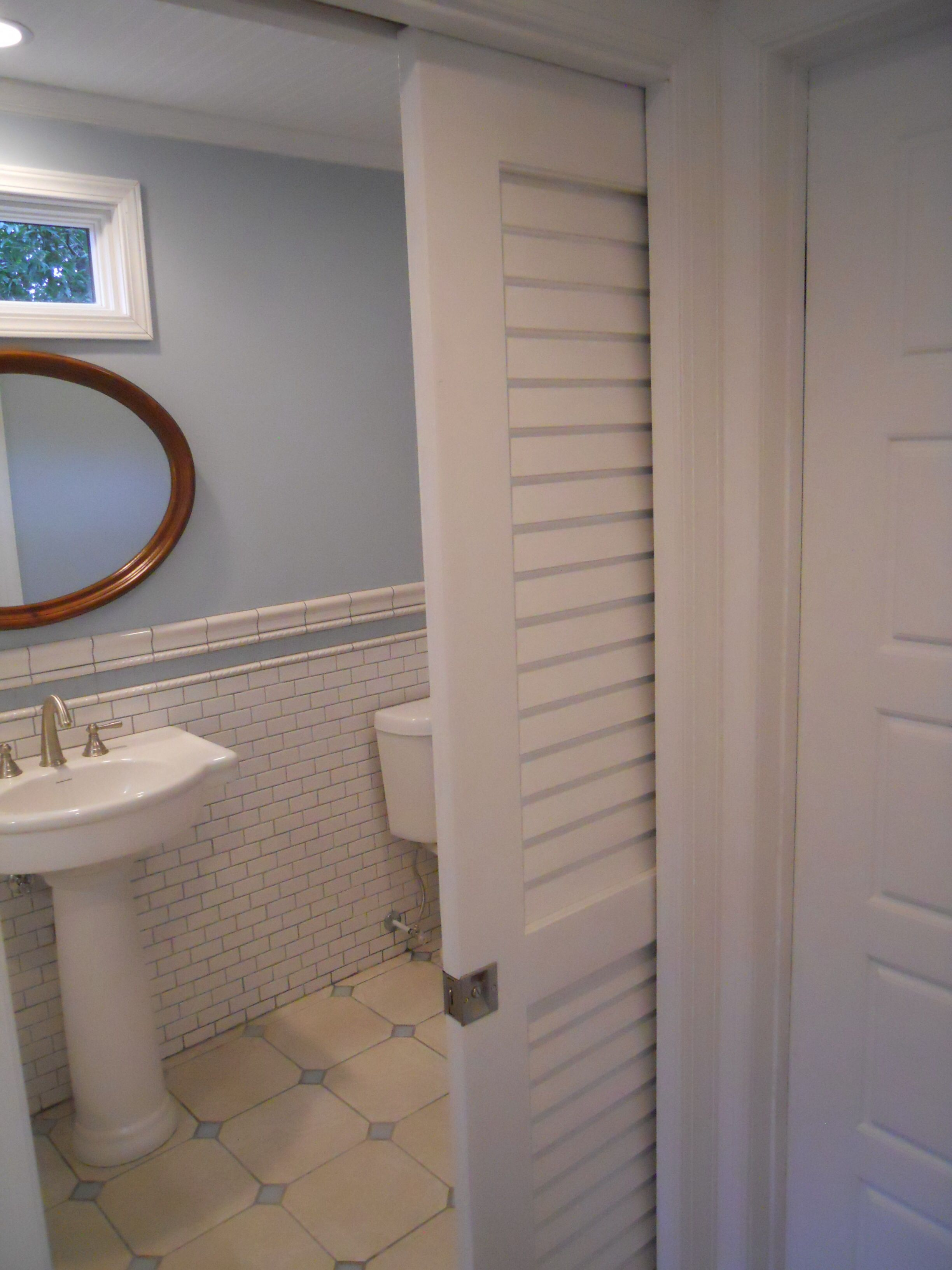 Plantation Louvered Pocket Door Bathroom Doors Renos Small Remodeling