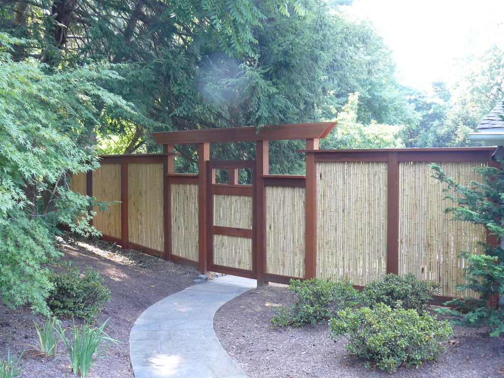 Attirant Dazzling Bamboo Fencing In Landscape Asian With Bamboo Gate Next To Fence  Panel Alongside Fence Design