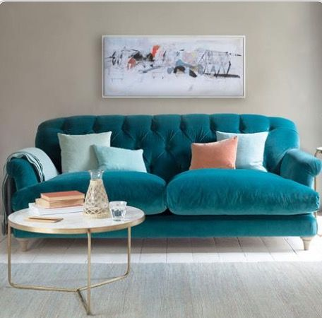 Jewel Coloured Sofa Upholstery Suede Velvet Living Room Jade Green Blue Quilted Truffle Sofa Lo Teal Couch Living Room Teal Living Rooms Living Room Turquoise