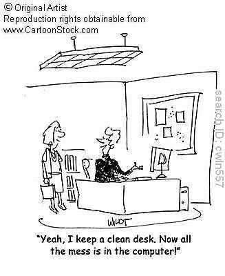Organize Desk Computer Organizing Humor Office Cartoon