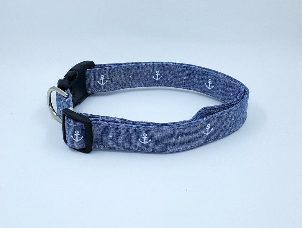 Nautical Chambray with White Anchors Beachy Dog Collar