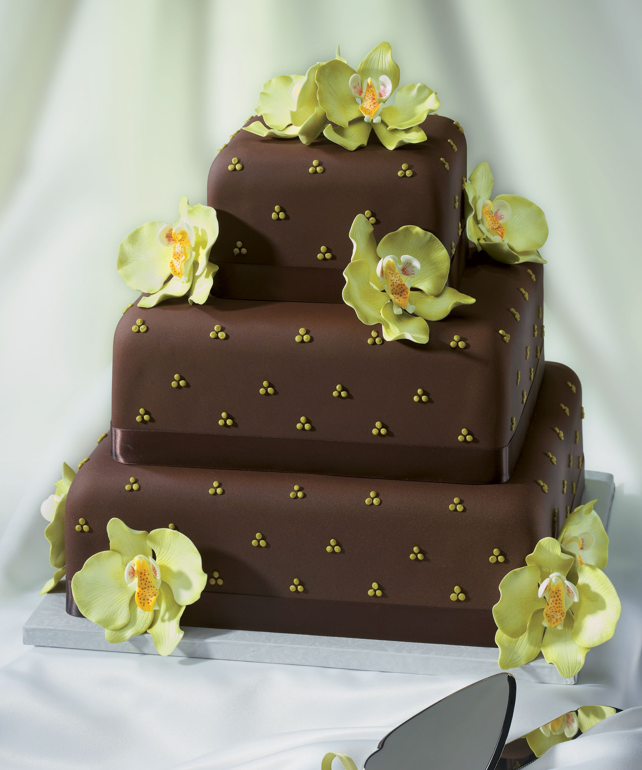 Chocolate Wedding Cake With Gum Paste Orchids From Decopac