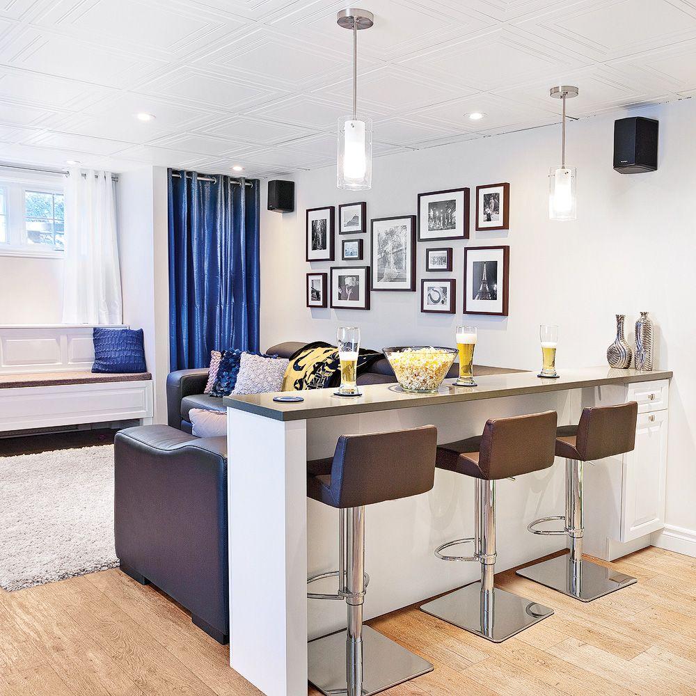 Comptoirbar Dans Le Soussol Salon Inspirations Décoration - Rideaux pour salon salle a manger pour idees de deco de cuisine