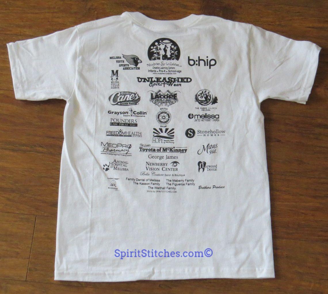 Screen printed 5k sponsor shirt back for race for Marathon t shirt printing