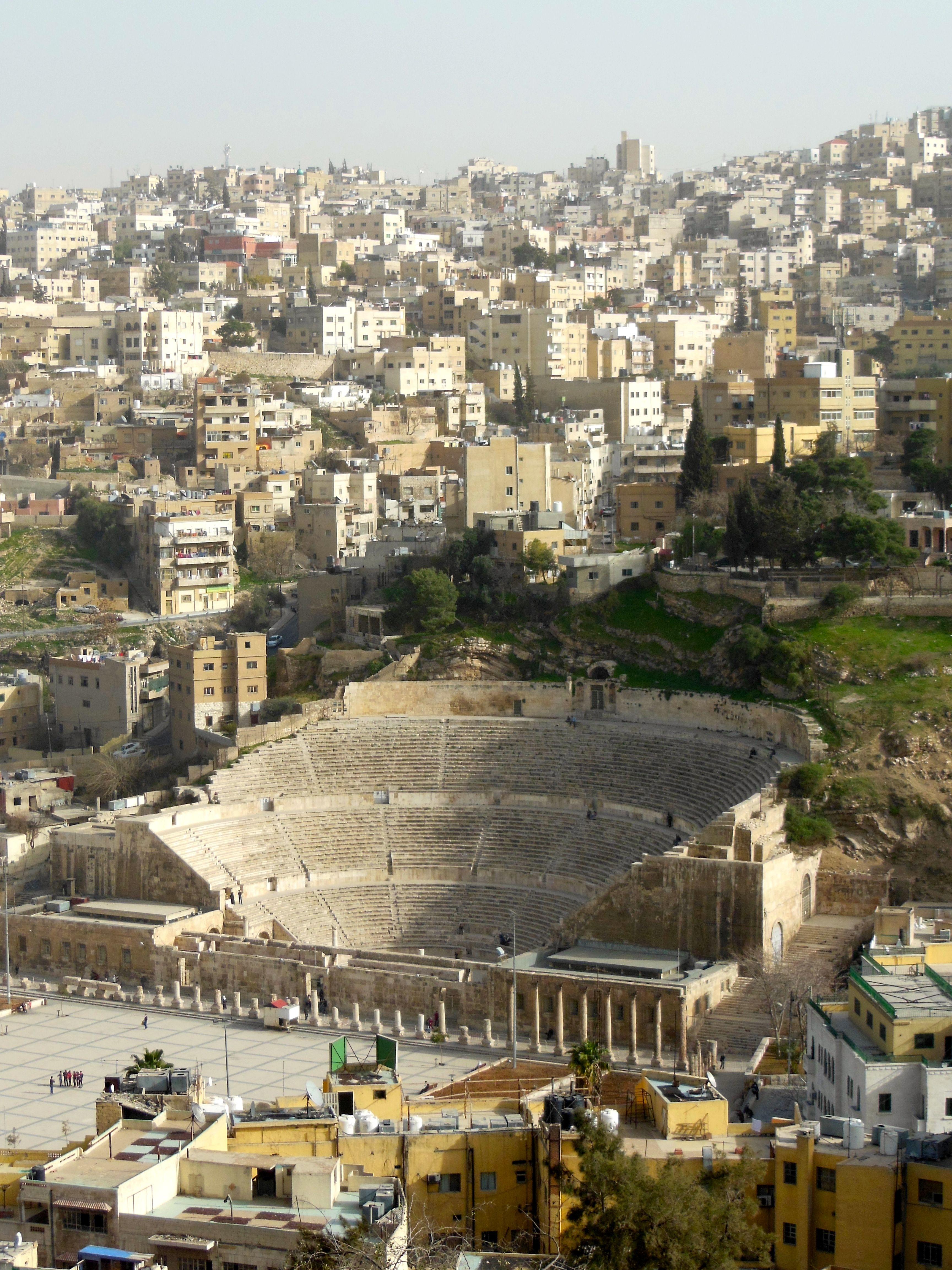 View of the amphitheatre in Amman, Jordan.