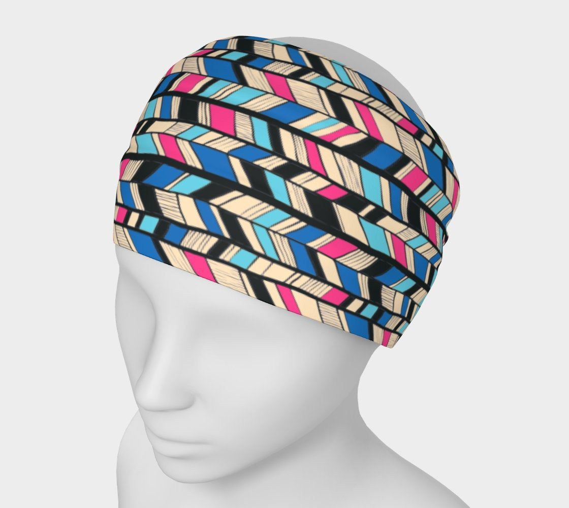 BRIGHT COLORED HEADBAND CHEVRON STRETCH COMFORTABLE SUMMER!