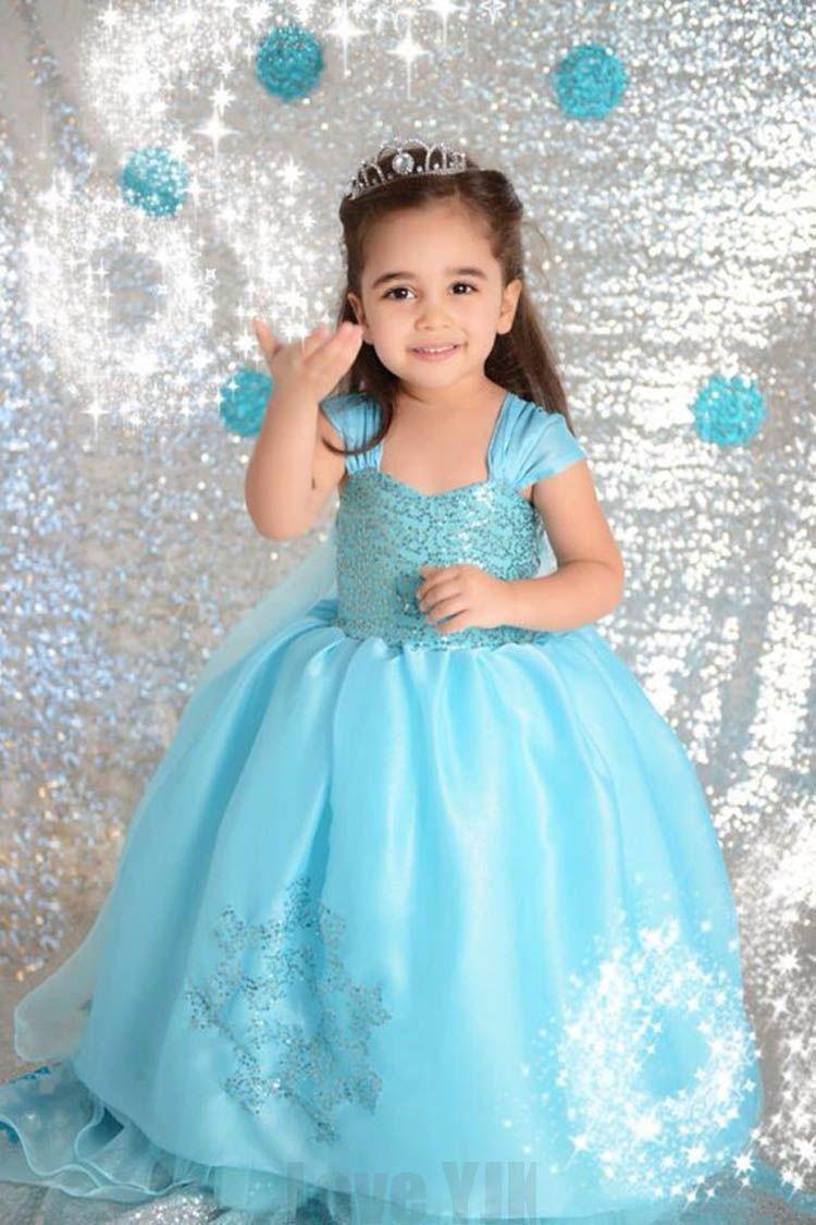 Princess Anna Elsa Dress Cosplay Costume Custom Kids Princess Dress ...