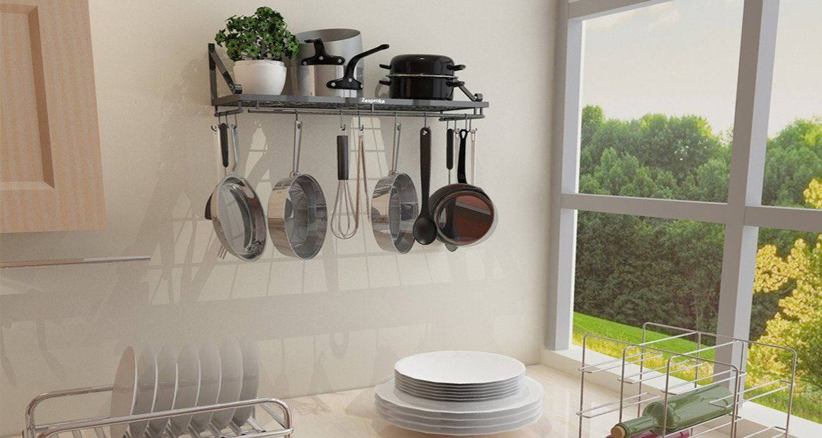 Wall Mounted Pot Rack Help You Smoothly Organize Your Kitchen Storage Space  By Hanging Your Pots