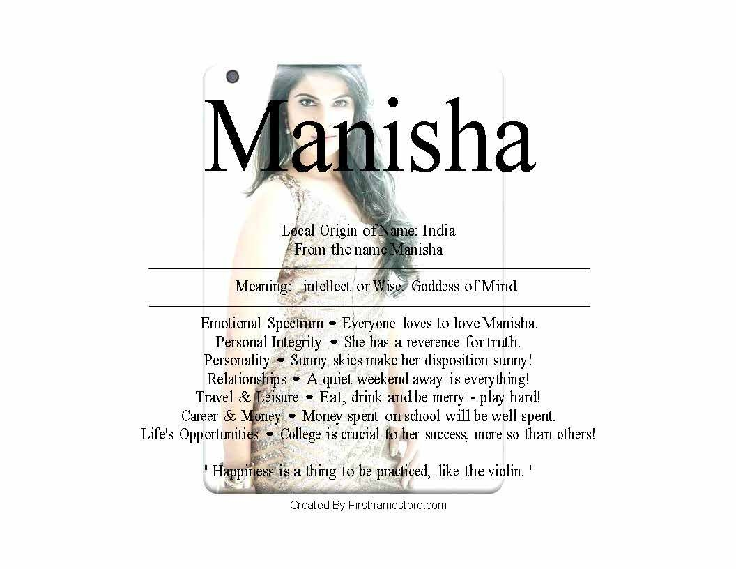 Manisha Name Means Goddess Of Mind Local Origin Of Name India From The Name Manisha Meaning Intellect Or Wise Goddess Of Mind Emotional Spectrum Everyone L